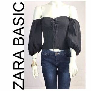 ZARA BASIC OFF THE SHOULDER PUFFY SLEEVES BLOUSE S